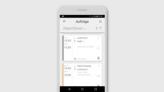 Smartphonedislplay mit der Linde Truck Call App