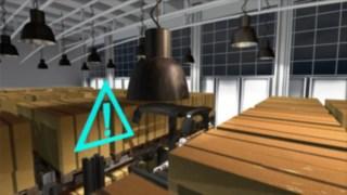 Die Animation zeigt die Funktionalität des optionalen Gangsicherheitsassistenten für die Linde Schmalganggeräte.